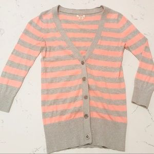 Peach & grey cardigan.